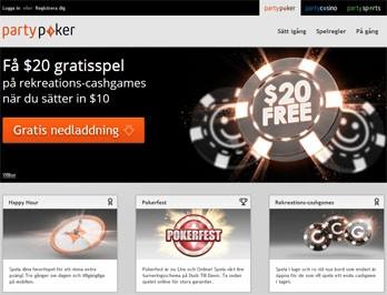PartyPoker webbsida