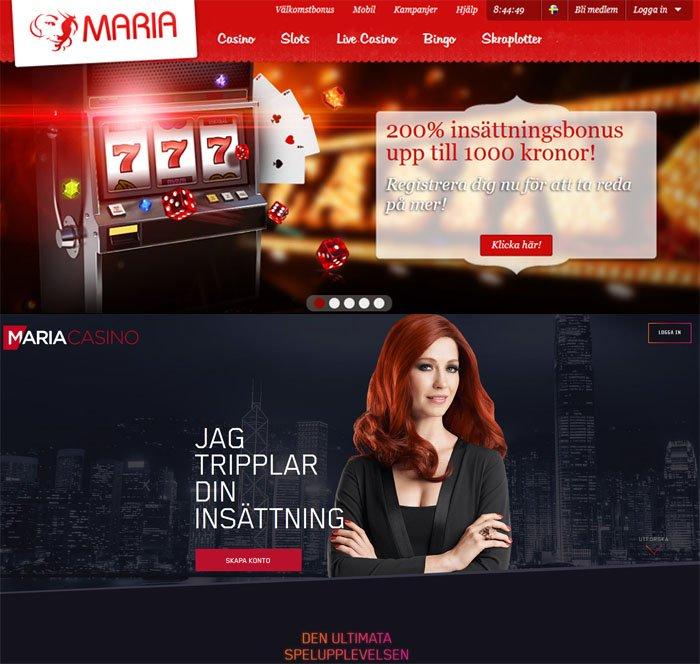 Maria hemsida skärmdump