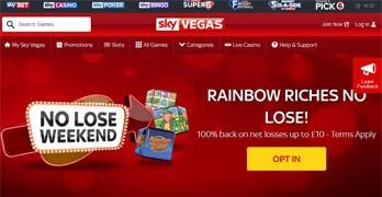 Sky Vegas webbsida