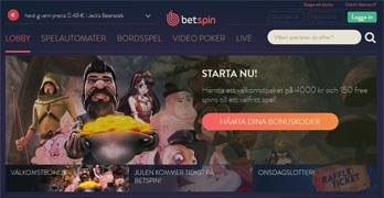 BetSpin webbsida