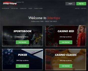 Intertops webbsida skärmbild
