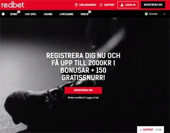 Redbet webbsida skärmbild